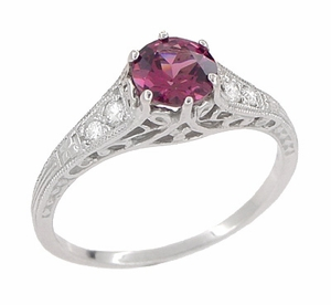 Raspberry Rhodolite Garnet and Diamond Filigree Engagement Ring in Platinum - Click to enlarge