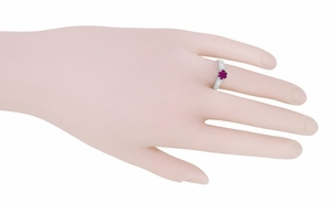 Raspberry Rhodolite Garnet and Diamond Filigree Engagement Ring in Platinum - Item R158GP - Image 5