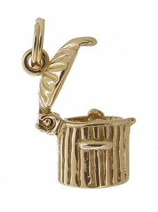 Kitty in a Trash Can Movable Charm in 14 Karat Gold - Item C382 - Image 1