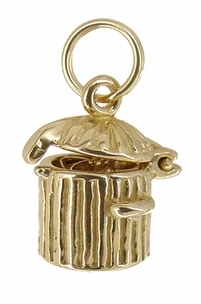 Kitty in a Trash Can Movable Charm in 14 Karat Gold - Click to enlarge