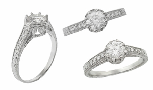 Royal Crown 3/4 Carat Antique Style Engraved Engagement Ring Setting in 18 Karat White Gold - Click to enlarge