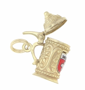 Enameled Switzerland Beer Stein Moveable Charm in 9 Karat Gold - Click to enlarge