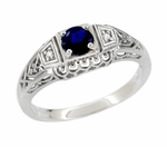 Art Deco Sapphire and Diamonds Filigree Engagement Ring in Sterling Silver