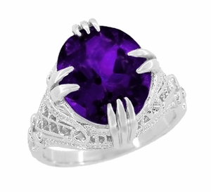 Amethyst Art Deco Filigree Ring in 14 Karat White Gold - Item R157AM - Image 1