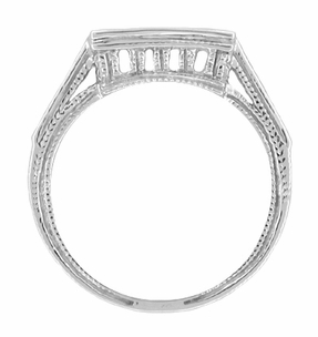 Art Deco Diamond Filigree Royal Castle Wedding Ring - 18 Karat White Gold - Item WR661 - Image 1