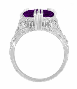 Amethyst Art Deco Filigree Ring in 14 Karat White Gold - Click to enlarge