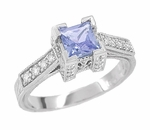 Art Deco 1/2 Carat Princess Cut Tanzanite and Diamond Engagement Ring in 18 Karat White Gold