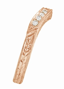 Art Deco Engraved Wheat Curved Diamond Wedding Band in 14 Karat Rose Gold - Click to enlarge