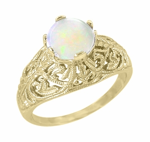 Edwardian Filigree Opal Ring in 14 Karat Yellow Gold - Item R137Yo - Image 1