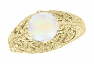Edwardian Filigree Opal Ring in 14 Karat Yellow Gold - Item R137Yo - Image 2