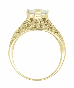 Edwardian Filigree Opal Ring in 14 Karat Yellow Gold - Item R137Yo - Image 3