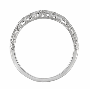 Art Deco Flowers and Wheat Engraved Filigree Wedding Band in 18 Karat White Gold - Click to enlarge