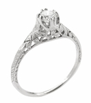 Art Deco Filigree Flowers & Wheat 1/4 Carat Diamond Engraved Engagement Ring 18K White Gold