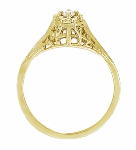Art Deco Filigree Petite Diamond Ring in 14 Karat Yellow Gold - Item R204Y - Image 1