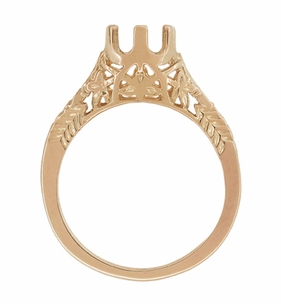 Art Deco 3/4 - 1 Carat Crown of Leaves Filigree Engagement Ring Setting in 14 Karat Rose Gold - Click to enlarge