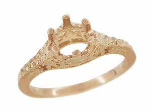 Art Deco 3/4 - 1 Carat Crown of Leaves Filigree Engagement Ring Setting in 14 Karat Rose Gold - Item R299R1 - Image 2