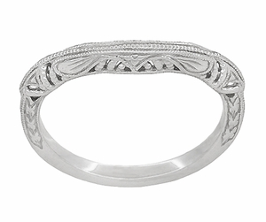 Art Deco Filigree and Wheat Engraved Curved Wedding Ring in 14 Karat White Gold - Item WR161W - Image 2