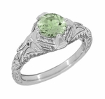 Art Deco Engraved Filigree Green Sapphire Engagement Ring in 14 Karat White Gold