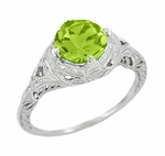 Art Deco Engraved Filigree Peridot Engagement Ring in 14 Karat White Gold