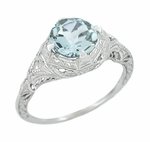 Art Deco Engraved Filigree Aquamarine Engagement Ring in 14 Karat White Gold
