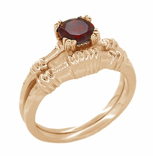 Art Deco Hearts and Clovers Almandine Garnet Engagement Ring in 14 Karat Rose ( Pink ) Gold - Item R707 - Image 2