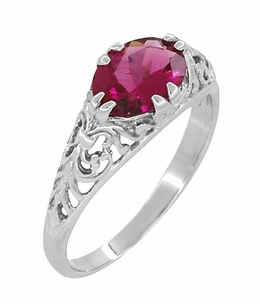 Edwardian Oval Pink Tourmaline Filigree Ring in 14 Karat White Gold - Item R799WPT - Image 1