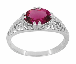 Edwardian Oval Rubellite Tourmaline Filigree East West Ring in 14K White Gold - Item R799WPT - Image 2