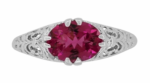 Edwardian Oval Rubellite Tourmaline Filigree East West Ring in 14K White Gold - Item R799WPT - Image 3