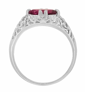 Edwardian Oval Rubellite Tourmaline Filigree East West Ring in 14K White Gold - Item R799WPT - Image 4