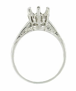 Art Deco 1 Carat Crown Filigree Platinum Engagement Ring Setting - Click to enlarge