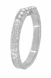 Royal Crown Curved Diamond Engraved Wedding Band in Platinum - Item WR460PD - Image 3