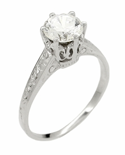 Art Deco 1 Carat Crown Filigree Platinum Engagement Ring Setting - Item R199P - Image 2