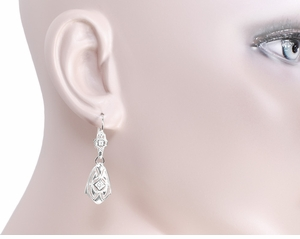 Art Deco Dangling Sterling Silver Diamond Filigree Earrings - Click to enlarge