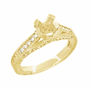 X & O Kisses 1/2 Carat Diamond Engagement Ring Setting in 18 Karat Yellow Gold - Click to enlarge