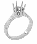 Art Deco Platinum 1.50 - 2.00 Carat Crown Engagement Ring Setting with Scroll Engraving for a Round Stone 7mm - 8mm