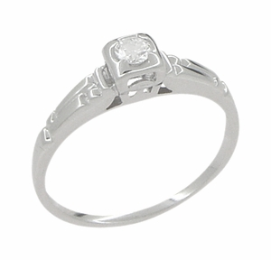 Retro Moderne Diamond Antique Engagement Ring in 18 Karat White Gold - Click to enlarge