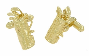 Gold Golf Bag Cufflinks in 14 Karat Gold | Solid Gold GolferCufflinks - Item GCL152 - Image 1