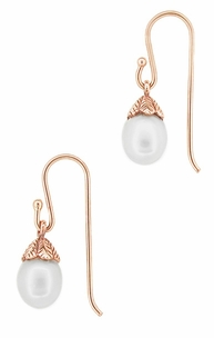 Art Deco Pearl Drop 14 Karat Rose Gold Earrings - Click to enlarge
