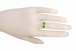 Art Deco Filigree Loving Duo Peridot Ring in 14 Karat White Gold - August Birthstone | Vintage 2 Stone RIng - Item R1129WPER - Image 3