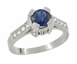 Art Deco Blue Sapphire Engraved Castle Engagement Ring in Platinum