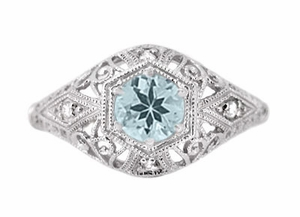 Edwardian Aquamarine and Diamonds Scroll Dome Filigree Engagement Ring in 14 Karat White Gold - Click to enlarge
