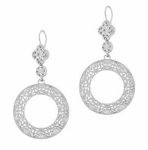 Circle of Love Art Deco Sterling Silver Drop Dangle Filigree Earrings - Click to enlarge
