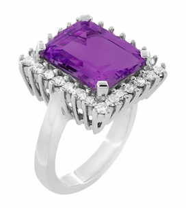 Emerald Cut Amethyst Ballerina Ring with Diamonds in 18 Karat White Gold - Item R1176WAM - Image 1