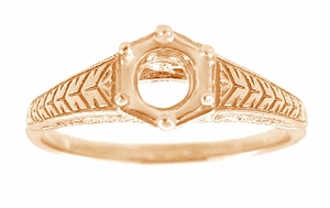 Art Deco Scrolls and Wheat Filigree Engagement Ring Setting for a 3/4 Carat Diamond in 14 Karat Rose ( Pink ) Gold - Item R688R - Image 1