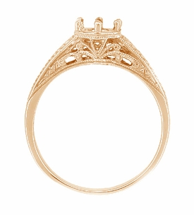 Art Deco Scrolls and Wheat Filigree Engagement Ring Setting for a 3/4 Carat Diamond in 14 Karat Rose ( Pink ) Gold - Item R688R - Image 2
