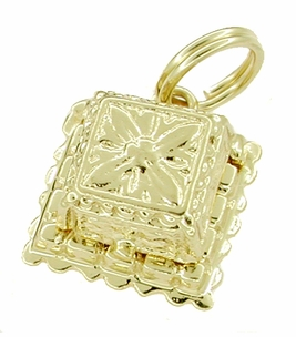 Movable Diamond Engagement Ring and Ring Box Charm in 14 Karat Gold - Click to enlarge