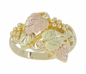 Black Hills Gold Leaves Ring in 10 Karat Green Pink and Yellow Gold - Click to enlarge