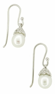 Art Deco Diamond Set Pearl Drop Earrings in 14 Karat White Gold - Click to enlarge