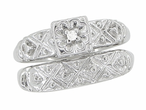 Art Deco Antique Wedding Ring and Clover Engagement Ring Set in 14 Karat White Gold - Click to enlarge