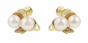 Vintage Mikimoto Pearl Earrings in 14 Karat Yellow Gold, Original Authentic 1950's Estate Cluster Pearl Earrings - Item E159 - Image 1